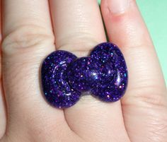 Hello Kitty Bow Ring  Holographic Purple Glitter by thefunkyjunky