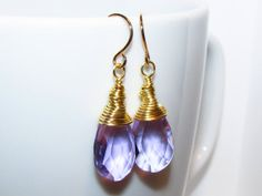 Soft Purple Crystal Briolette Non tarnish Gold by AStyleEveryday, $23.00