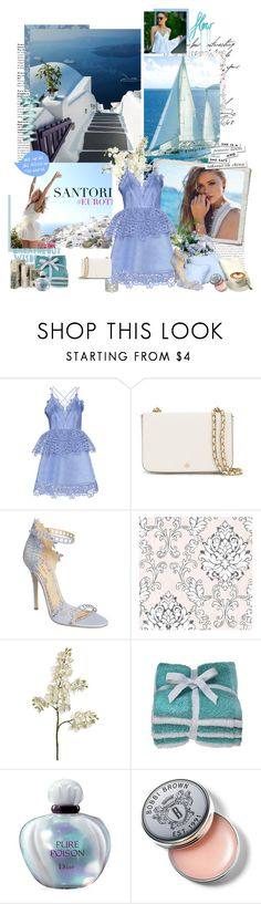 """Santorini Views"" by seafreak83 ❤ liked on Polyvore featuring Chopard, self-portrait, Tory Burch, Marchesa, Graham & Brown, Thibaut, Christian Dior, Bobbi Brown Cosmetics, Kate Spade and travel"