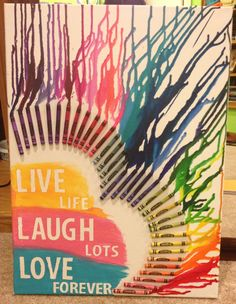 DIY. Crayon Art on Canvas. Quote.   An easy way to jazz up any wall.