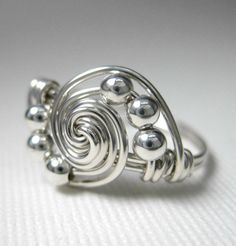 Wire Wrapped Ring Sterling Silver Gravitation by holmescraft