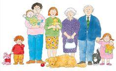 Praatplaat Bas - Familie  (Getekend door Dagmar Stam)