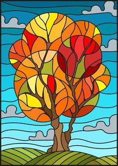 Illustration of Illustration in stained glass style with autumn tree on sky background with clouds vector art, clipart and stock vectors. Stained Glass Quilt, Stained Glass Patterns, Autumn Art, Autumn Trees, Autumn Painting, Autumn Leaves, Doodle Art, Afrique Art, Art Watercolor