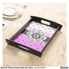 Shop Black & White Daisy Polka Dot Monogram Tray created by FarrellArt. Food Serving Trays, Food Trays, Flower Boarders, Daisy Pattern, Natural Wood Finish, Monogram Letters, Create Your Own, Finding Yourself, Polka Dots