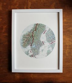Map Art Embroidery Altered Europe by yinsteadofi on Etsy, $22.00