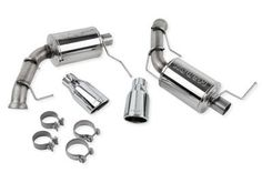 Roush Mustang Exhaust •For 5.0L V8 engine 2011-2014 •Upgraded aggressive sound tone and volume •Unique open-chambered design •Provides higher air flow and less back pressure for increased horsepower and torque •Axle-back kit •409 stainless steel pipes and muffler •304 stainless steel exhaust tips with chrome flashing •Does not negatively effect emissions •No in-cockpit boom