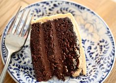 Chocolate Cake with Ganache and Salted Caramel Buttercream Frosting. (Alice Waters' chocolate cake recipe)