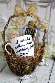 Gourmet Tea Gift Basket with DIY Personalized Quote Tea Cup