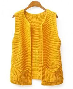 Chunky Knit Open Front Vest - Clothing