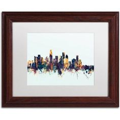 Trademark Fine Art Los Angeles CA Skyline Blue Canvas Art by Michael Tompsett, White Matte, Wood Frame, Size: 16 x 20, Multicolor