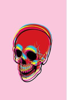 inside of me there is a CMYK skull / Alvaro Sánchez Psychedelic Art, Arte Dope, Skeleton Art, Skeleton Bones, Arte Sketchbook, Vanitas, Skull Print, Skull And Bones, Dark Art