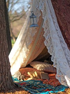 Made to order - large approx 6.5 high (sides top to bottom) x 8 long patchwork tent for backyard or living room meditation. Includes tabs and