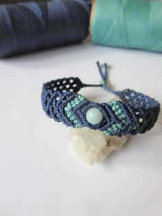 Amazonita perla y azul Navy amistad/amor/Surf pulsera hecha a