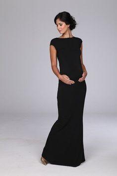 e283e2395bb capsleeve black maxi (not maternity but same neckline) Maternity Evening  Gowns