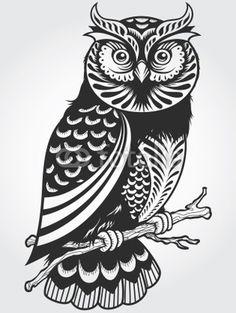 decorative owl (illustrator unknown) http://www.creativeboysclub.com/tags/illustration