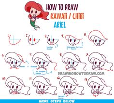 How to Draw Cute Baby Kawaii Chibi Ariel from Disney's The Little Mermaid