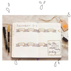 Some Bullet Journal inspiration and layout ideas. This time: A simple weekly spread in black, white and gold. #bulletjournal #ideas #layout #inspiration #quote #motivation