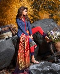 1. Blue cotton Palazzo Suit  2. Denim Digital Print  3. Comes with Matching Palazzo and Printed Dupatta