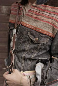 #Boho Inspired Native pattern mixed with denim for Mens.