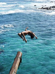 """play. try. do: unless you're terrified of life you're going to do a complete flip. Inertia says, """"what is in motion shall remain so,"""" just keep going and you'll do a backflip into the wild blue sea :)"""