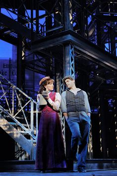"Kara Lindsay and Jeremy Jordan in the original Broadway cast of ""Newsies"""