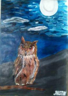 Obra: El búho. Técnica: pintura acrílica profesional. Autor: Jhostin Gomez.