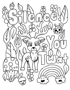 Adult Coloring Page With A Deer And Swears Visit To Discover More Swear Word