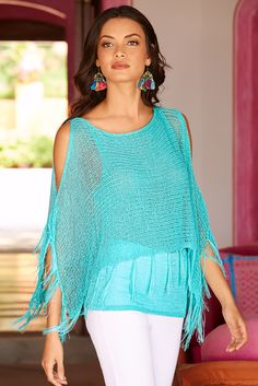 Casual Chic | Women's Cold Shoulder Fringe Turquoise Fringe Sweater by Boston Proper.