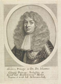 Anonymous | Portret van Johan George II van Anhalt-Dessau, Anonymous, 1660 - 1749 | Portret van Johan George II in een ovaal. In de ondermarge vier regels Latijnse tekst.