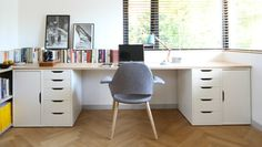 Home studio featuring IKEA Vika Alex drawers and cut-to-size wooden desktop. Designer: Kathryn Tyler