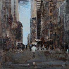 "Patrick Pietropoli, New York Street VIII, 2014, Oil on Linen, 20"" x 20"" #art #axelle #painting #nyc #streetscape #urban"