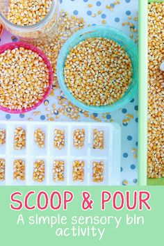 A simple and engaging sensory recipe to promote fine motor skills and sensory exploration! Designed for babies, toddlers, and preschoolers. Harvest Activities, Senses Activities, Motor Skills Activities, Autumn Activities, Infant Activities, Fine Motor Skills, Preschool Activities, Fall Sensory Bin, Sensory Bins