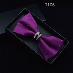 Tuxedo Metal Crystal Wedding Bow Tie Men Women Butterfly Knot Cravat Black Purple Blue Jujube Red Groom Party Banquet Meet Club
