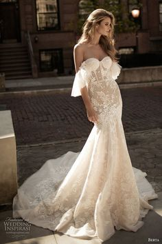 berta fall 2017 bridal strapless off the shoulder sweetheart necklne bustier bodice full embellishment lace fit and flare wedding dress royal train (005) mv