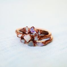 Opal Ring / Raw Opal Ring / Copper Rings / Raw Stone Ring / Stacking Ring / Solitaire Ring / Triple Stone Ring / October Birthstone by PebbleAndStoneStore on Etsy https://www.etsy.com/listing/261687344/opal-ring-raw-opal-ring-copper-rings-raw