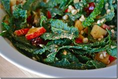 Kale Salad (with corn, apples, cran and a hummus dressing)