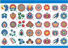 Folklor, folklore, pattern, ornament, pexeso Ornamenty pro radost, Horňácko Folk Art Flowers, Flower Art, Retro Flowers, Folk Embroidery, Embroidery Patterns, Bordado Popular, Polish Folk Art, Scandinavian Folk Art, Arte Popular