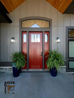We're not sure what the magic is about a red door but they're a fan favorite. Add sidelights and transom and this becomes a seriously well-lit entry. Craftsman style and fiberglass construction; timeless. Visit us online for more inspiration. Exterior Doors, Craftsman Style, Woodworking, Construction, Magic, Fan, Building, Inspiration, Home