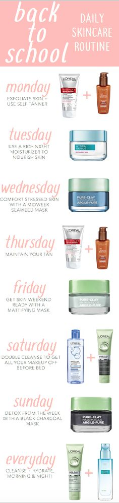 Fall 2017 back to school skincare routine featuring L'Oreal Pure Clay masks + cleansers.