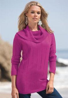 Roamans Plus Size Cowl Neck Sweater (Magenta,M) Roamans. $27.49