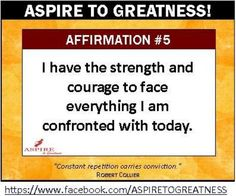 Hello Friend!    If you are inspired, encouraged or strengthened by this affirmation, please LIKE, SHARE and inspire others to join our ASPIRE TO GREATNESS community at https://www.facebook.com/ASPIRETOGREATNESS     Come and be inspired to ASPIRE! See for yourself the ways our team will aid you in finding the best solution to create a freedom.