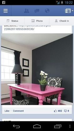 Love this pink table if I had a computer room