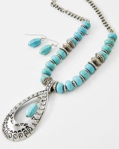 Antique Silver Tone / Turquoise Stone / Lead Compliant / Teardrop Pendant / Necklace & Fish Hook Earring Set