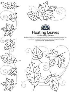 Floating autumn leaves (pattern for hand embroidery @ DMC threads blog)