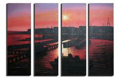 Canvas Art - Wall Art finished in USAHistory: Red skies at night, sailors delight! Any traveler of the seas knows the faultlessness of a calm sunset seaport. This oil painti