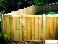 The Avalon™ Custom Board-on-Board Wood Privacy Fence - inside and outside views Wood Privacy Fence, Garden Privacy, Concrete Fence, Diy Fence, Cedar Fence, Fence Panels, Fence Ideas, Wood Fences, Gate Ideas