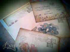 Carte postale wedding invitation - Flowers  - Vintage wedding stationery - Beyond Verve