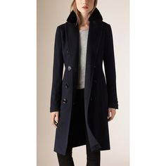Burberry Fur Trim Cashmere Military Coat (€2.755) ❤ liked on Polyvore featuring outerwear, coats, black coat, burberry, fur-trimmed coat, burberry coat and black cashmere coat