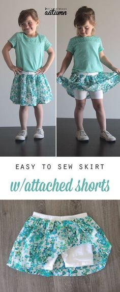 Add fabric to purchased shorts to make a cute skirt with attached shorts - this looks so easy! diy sewing tutorial.: