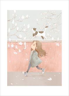 Illustration Petite Fille et Chat de Summer Bee pour L'Affiche Moderne